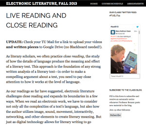 GdD appears in a tweet read upsidedown in class blog at Temple University University